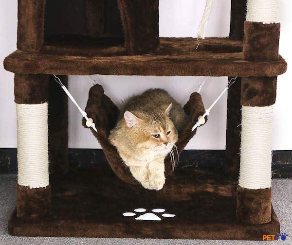 Nhà cây cho mèo bằng vải kết hợp võng nằm