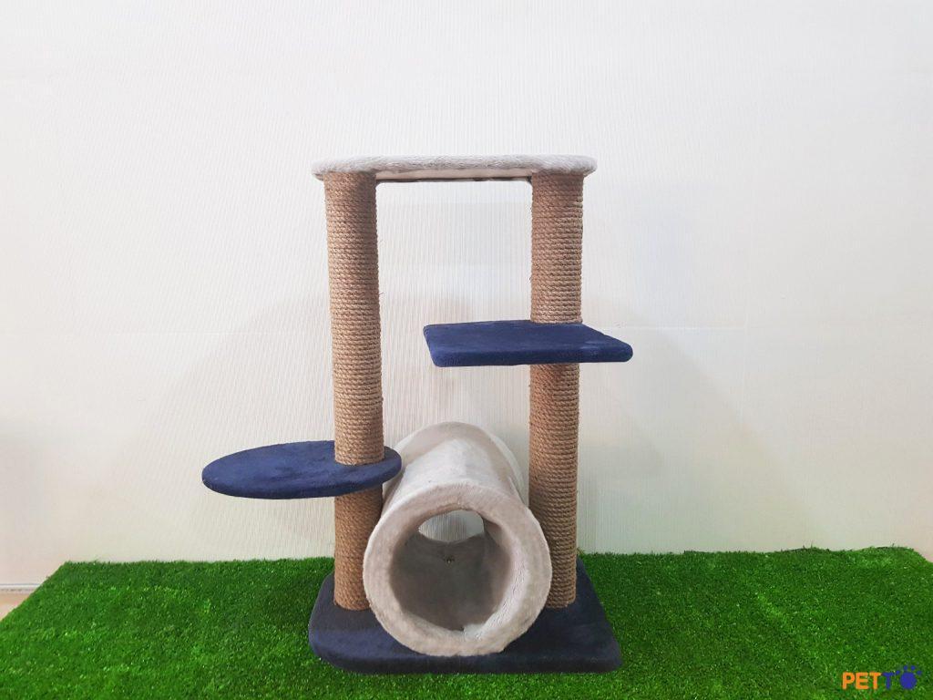 Nhà cây cho mèo được làm từ gỗ bọc vải nhung