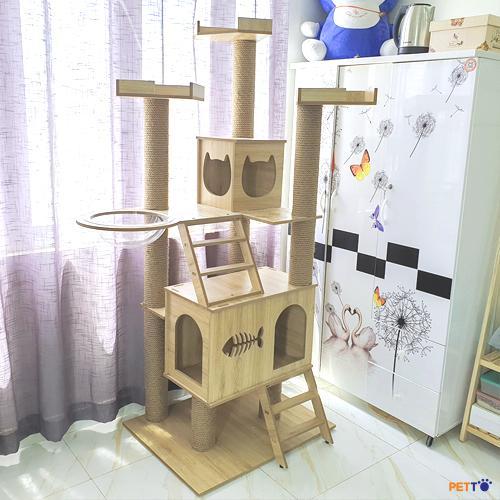 Nhà cây cho mèo kết hợp giữa nhà và cào móng